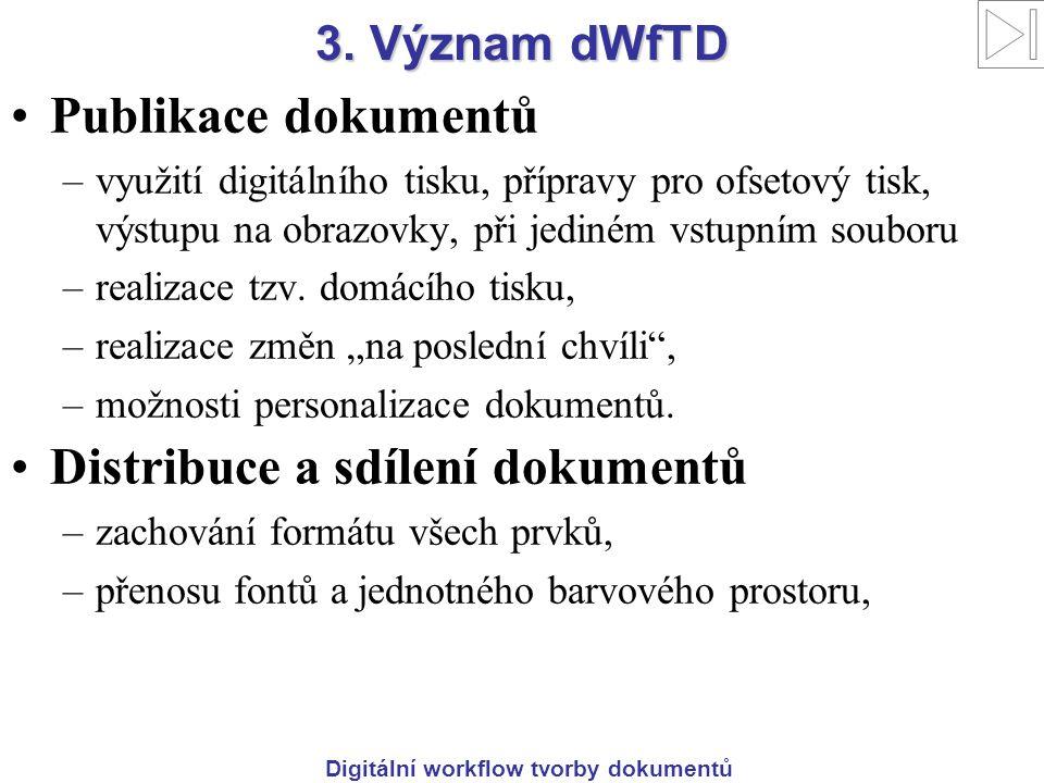 Digitální workflow tvorby dokumentů 3. Význam dWfTD Publikace dokumentů –využití digitálního tisku, přípravy pro ofsetový tisk, výstupu na obrazovky,