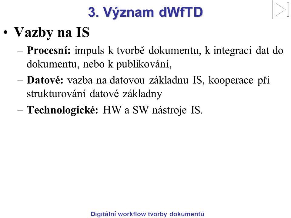 Digitální workflow tvorby dokumentů 3. Význam dWfTD Vazby na IS –Procesní: impuls k tvorbě dokumentu, k integraci dat do dokumentu, nebo k publikování