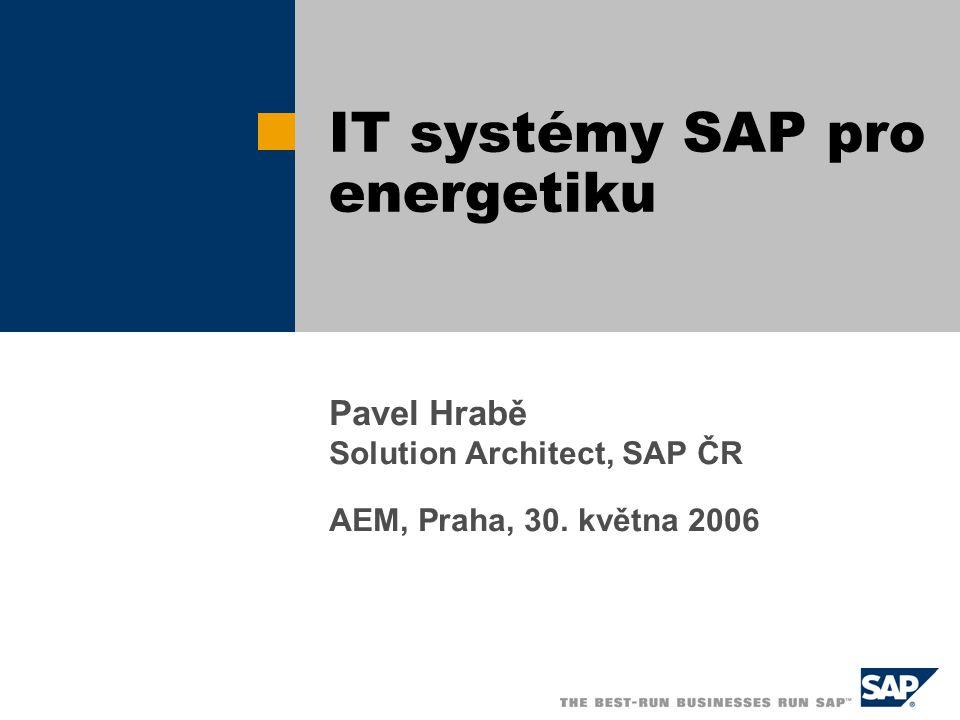 Pavel Hrabě Solution Architect, SAP ČR AEM, Praha, 30. května 2006 IT systémy SAP pro energetiku