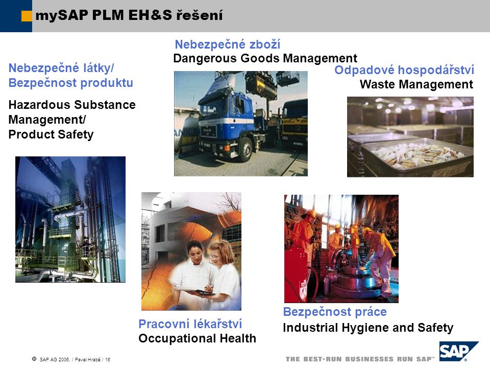  SAP AG 2006, / Pavel Hrabě / 16 Occupational Health Dangerous Goods Management Hazardous Substance Management/ Product Safety mySAP PLM EH&S řešení