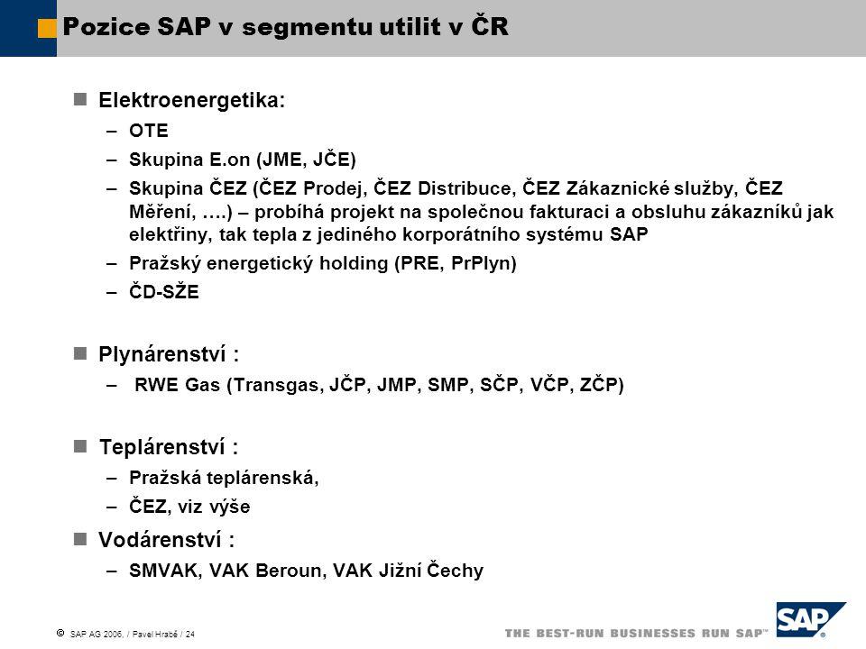  SAP AG 2006, / Pavel Hrabě / 24 Pozice SAP v segmentu utilit v ČR Elektroenergetika: –OTE –Skupina E.on (JME, JČE) –Skupina ČEZ (ČEZ Prodej, ČEZ Distribuce, ČEZ Zákaznické služby, ČEZ Měření, ….) – probíhá projekt na společnou fakturaci a obsluhu zákazníků jak elektřiny, tak tepla z jediného korporátního systému SAP –Pražský energetický holding (PRE, PrPlyn) –ČD-SŽE Plynárenství : – RWE Gas (Transgas, JČP, JMP, SMP, SČP, VČP, ZČP) Teplárenství : –Pražská teplárenská, –ČEZ, viz výše Vodárenství : –SMVAK, VAK Beroun, VAK Jižní Čechy