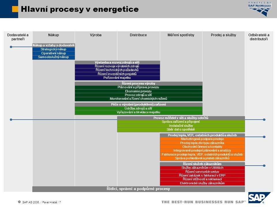  SAP AG 2006, / Pavel Hrabě / 7 Hlavní procesy v energetice Dodavatelé a partneři Odběratelé a distributoři NákupVýrobaDistribuceMěření spotřebyProdej a služby Řídící, správní a podpůrné procesy Nákup a vztahy s dodavateli Strategický nákup Operativní nákup Samoobslužný nákup Výstavba a rozvoj zdrojů a sítí Řízení rozvoje výrobních zdrojů Řízení technických požadavků Řízení investičních projektů Pořizování majetku Řízení procesu výroby Plánování a příprava provozu Ekonomie provozu Provoz zdrojů a sítí Monitorování a řízení chemických režimů Péče o výrobní (produktivní) zařízení Údržba zdrojů a sítí Vyřazování a likvidace majetku Provoz měřidel v síti a služby odečtů Správa zařízení a připojení Instalační služby Sběr dat o spotřebě Prodej tepla, VEP, ostatních produktů a služeb Marketingová podpora prodeje Prodej tepla dle typu zákazníka Obchodní činnost a kontakty Integrované prodejní plánování a analýzy Fakturace prodeje tepla, VEP, ostatních produktů a služeb Správa pohledávek a plateb zákazníků Řízení služeb zákazníkům Služby zákazníkům v Utilitách Řízení servisních smluv Řízení zakázek s fakturací v ERP Řízení stížností a reklamací Elektronické služby zákazníkům