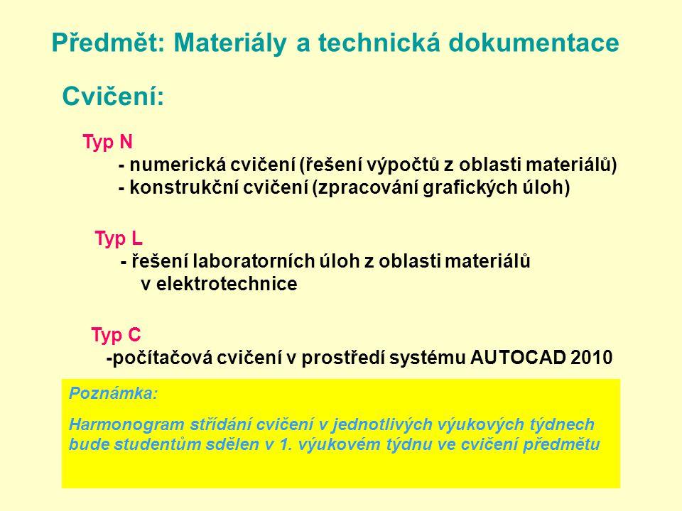 Předmět: Materiály a technická dokumentace Cvičení: Typ N - numerická cvičení (řešení výpočtů z oblasti materiálů) - konstrukční cvičení (zpracování grafických úloh) Typ L - řešení laboratorních úloh z oblasti materiálů v elektrotechnice Typ C -počítačová cvičení v prostředí systému AUTOCAD 2010 Poznámka: Harmonogram střídání cvičení v jednotlivých výukových týdnech bude studentům sdělen v 1.
