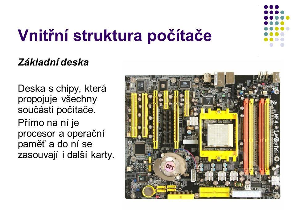 Vnitřní struktura počítače Základní deska Deska s chipy, která propojuje všechny součásti počítače. Přímo na ní je procesor a operační paměť a do ní s