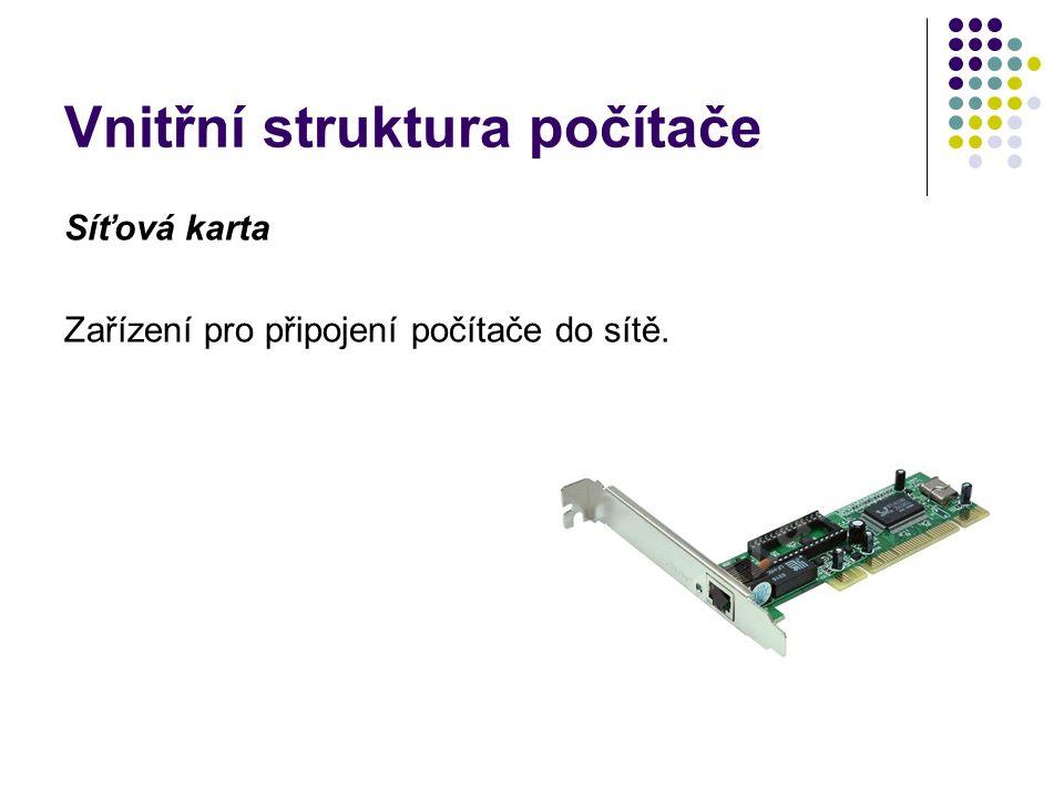 Vnitřní struktura počítače Síťová karta Zařízení pro připojení počítače do sítě.