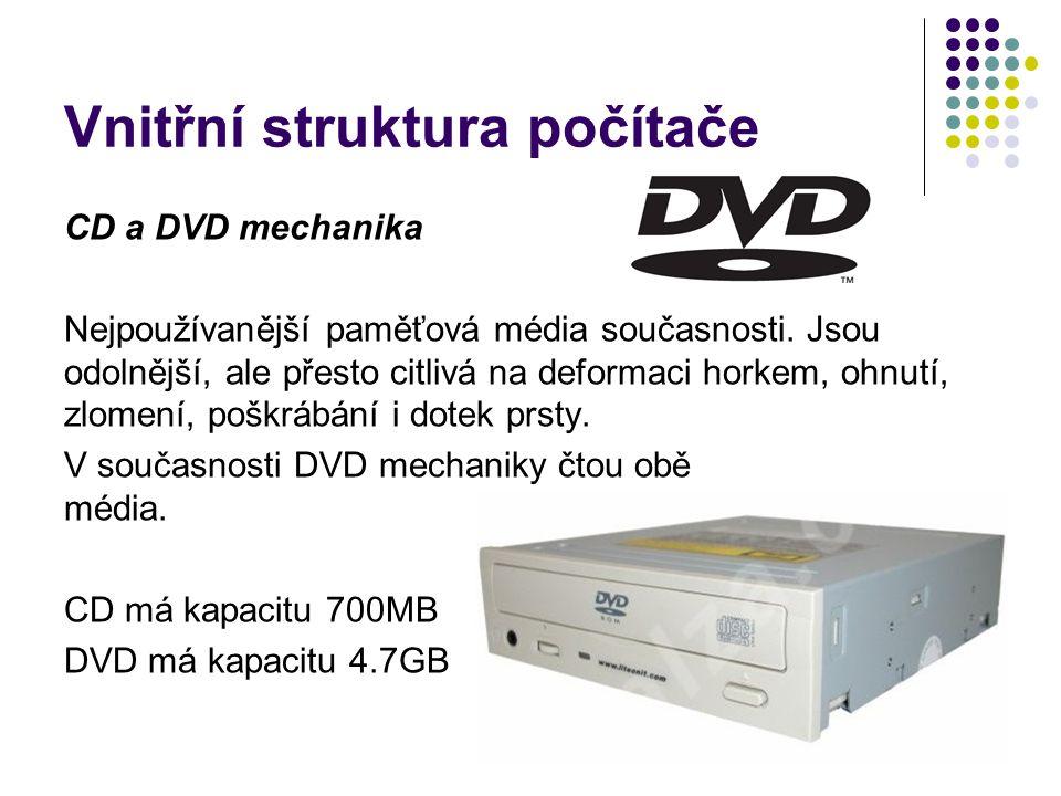Vnitřní struktura počítače CD a DVD mechanika Nejpoužívanější paměťová média současnosti. Jsou odolnější, ale přesto citlivá na deformaci horkem, ohnu