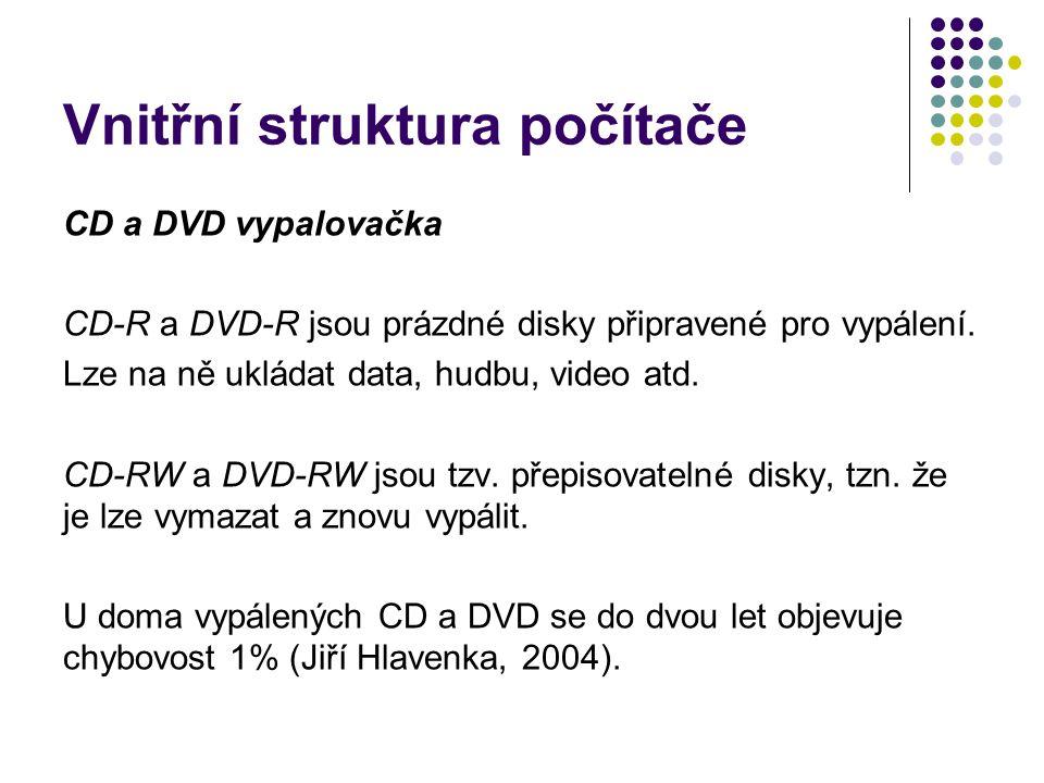 Vnitřní struktura počítače CD a DVD vypalovačka CD-R a DVD-R jsou prázdné disky připravené pro vypálení. Lze na ně ukládat data, hudbu, video atd. CD-