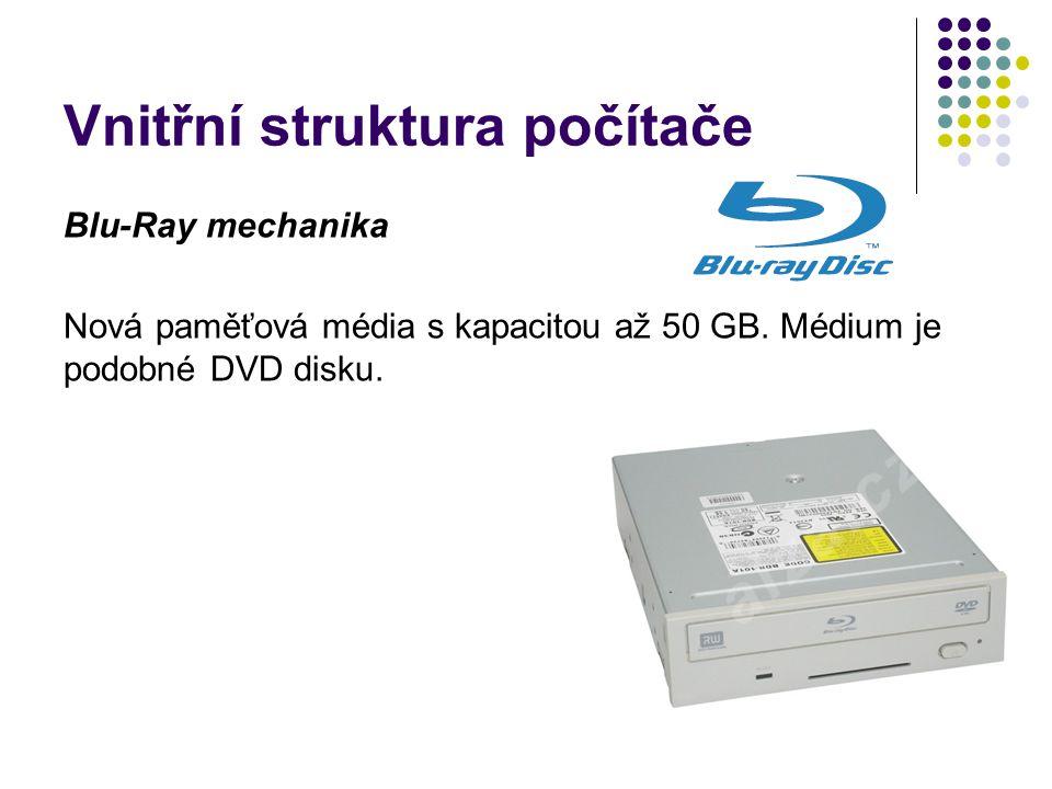 Vnitřní struktura počítače Blu-Ray mechanika Nová paměťová média s kapacitou až 50 GB. Médium je podobné DVD disku.