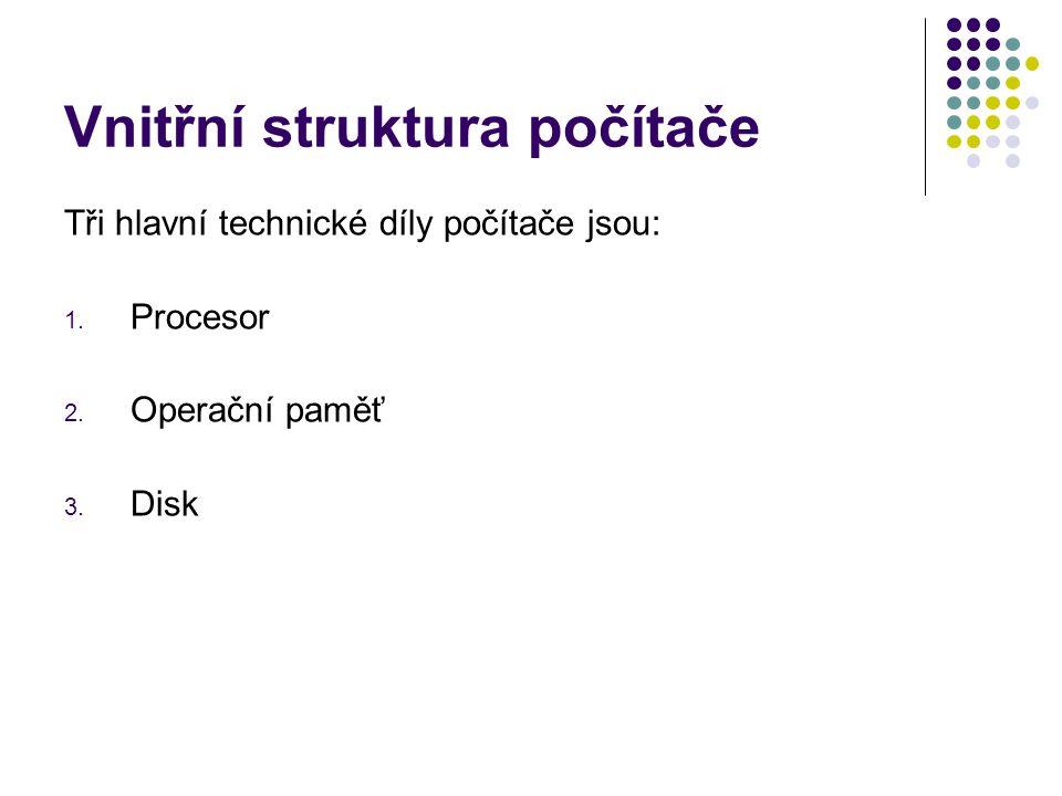 Vnitřní struktura počítače Tři hlavní technické díly počítače jsou: 1. Procesor 2. Operační paměť 3. Disk
