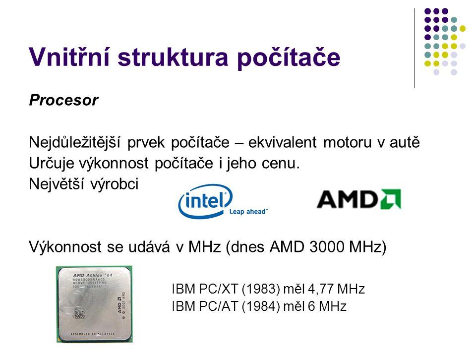 Vnitřní struktura počítače Procesor Nejdůležitější prvek počítače – ekvivalent motoru v autě Určuje výkonnost počítače i jeho cenu. Největší výrobci V