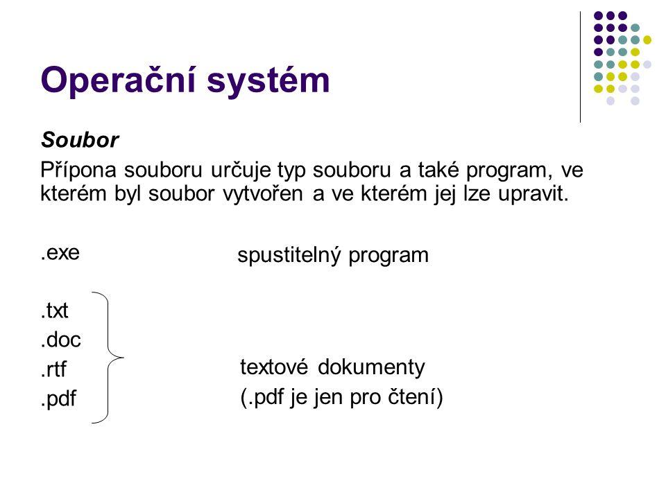 Operační systém Soubor Přípona souboru určuje typ souboru a také program, ve kterém byl soubor vytvořen a ve kterém jej lze upravit..exe.txt.doc.rtf.pdf spustitelný program textové dokumenty (.pdf je jen pro čtení)