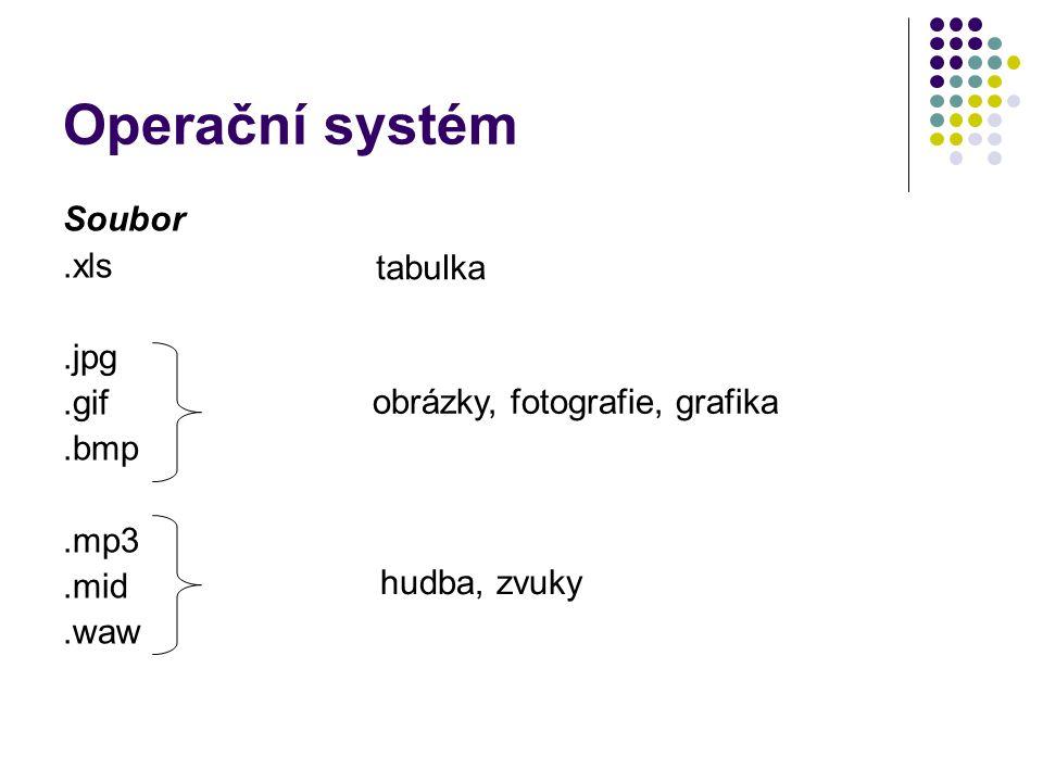 Operační systém Soubor.xls.jpg.gif.bmp.mp3.mid.waw tabulka obrázky, fotografie, grafika hudba, zvuky