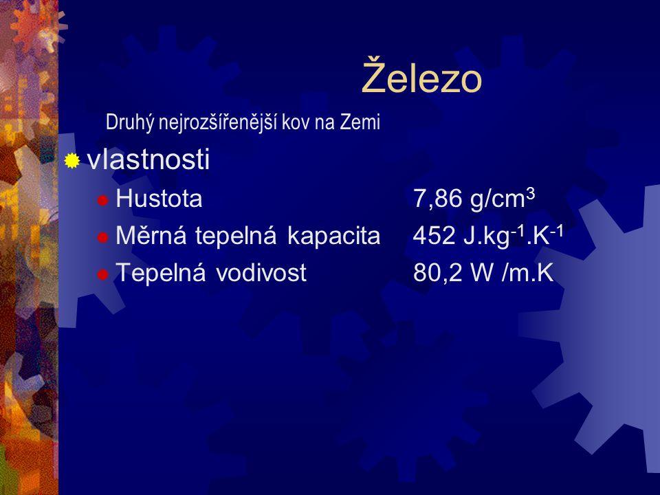 Železo  vlastnosti  Hustota 7,86 g/cm 3  Měrná tepelná kapacita 452 J.kg -1.K -1  Tepelná vodivost 80,2 W /m.K Druhý nejrozšířenější kov na Zemi