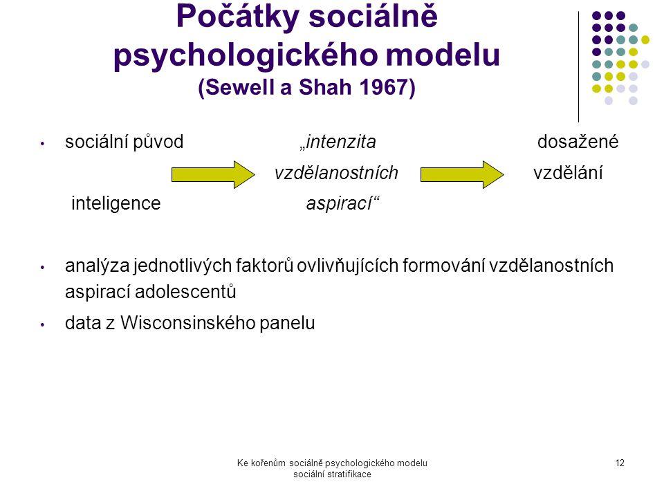 """Ke kořenům sociálně psychologického modelu sociální stratifikace 12 Počátky sociálně psychologického modelu (Sewell a Shah 1967) sociální původ """"intenzita dosažené vzdělanostních vzdělání inteligence aspirací analýza jednotlivých faktorů ovlivňujících formování vzdělanostních aspirací adolescentů data z Wisconsinského panelu"""