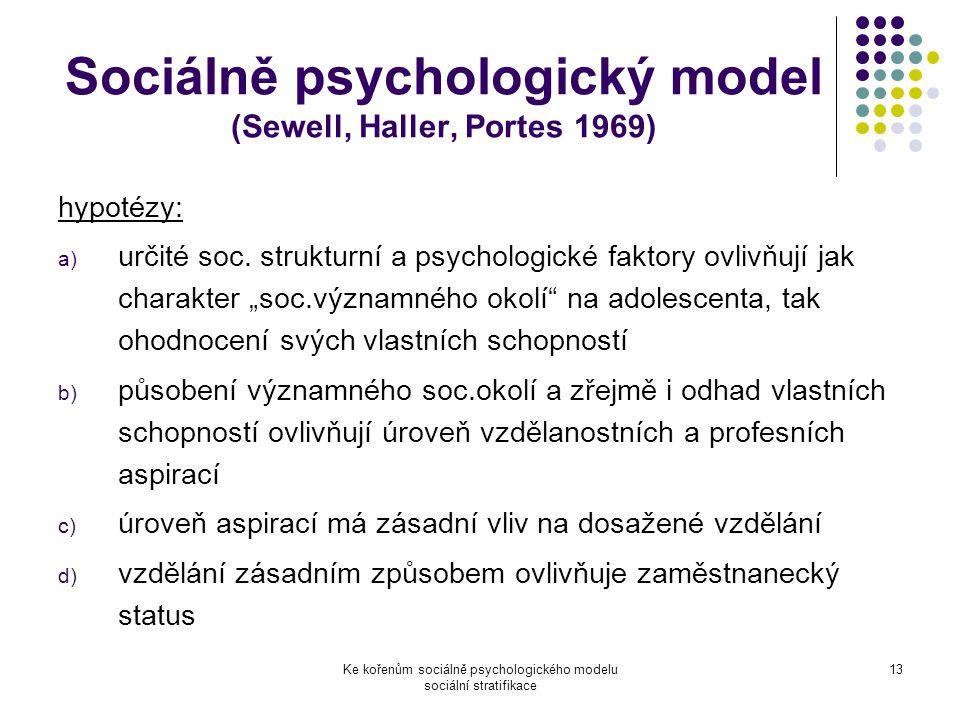 Ke kořenům sociálně psychologického modelu sociální stratifikace 13 Sociálně psychologický model (Sewell, Haller, Portes 1969) hypotézy: a) určité soc.
