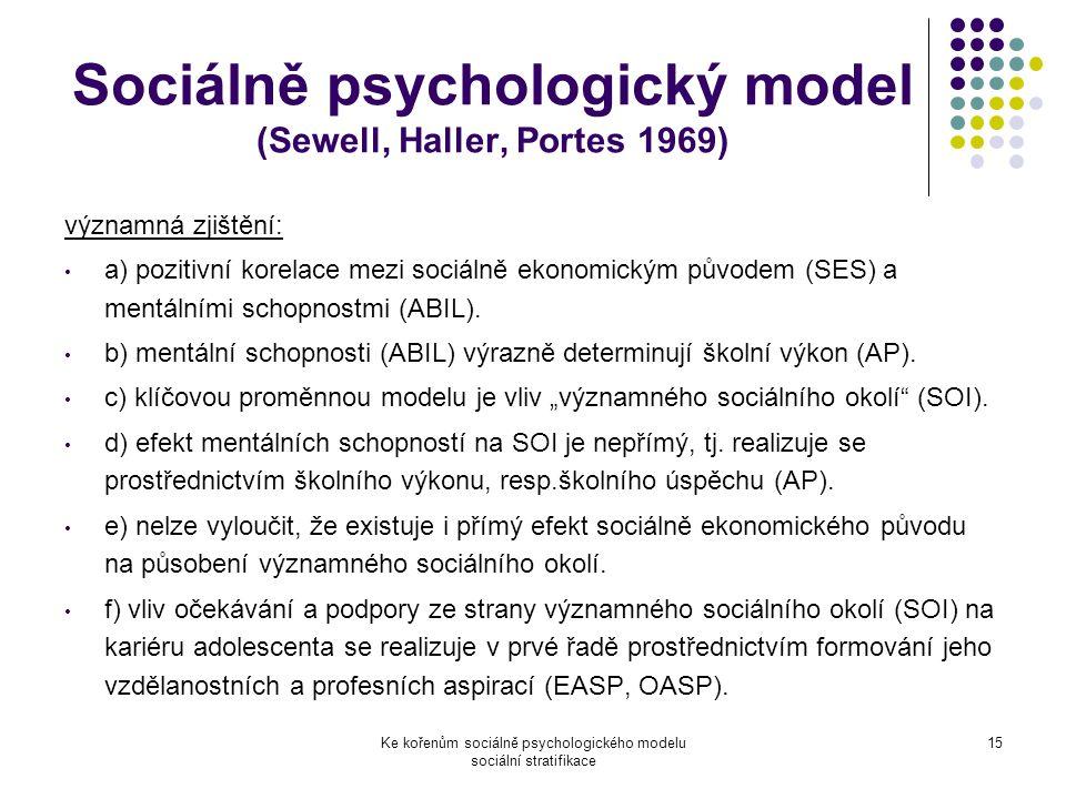 Ke kořenům sociálně psychologického modelu sociální stratifikace 15 Sociálně psychologický model (Sewell, Haller, Portes 1969) významná zjištění: a) pozitivní korelace mezi sociálně ekonomickým původem (SES) a mentálními schopnostmi (ABIL).