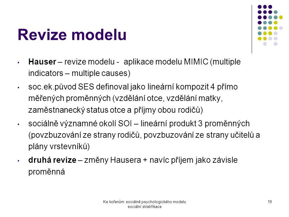 Ke kořenům sociálně psychologického modelu sociální stratifikace 19 Revize modelu Hauser – revize modelu - aplikace modelu MIMIC (multiple indicators – multiple causes) soc.ek.původ SES definoval jako lineární kompozit 4 přímo měřených proměnných (vzdělání otce, vzdělání matky, zaměstnanecký status otce a příjmy obou rodičů) sociálně významné okolí SOI – lineární produkt 3 proměnných (povzbuzování ze strany rodičů, povzbuzování ze strany učitelů a plány vrstevníků) druhá revize – změny Hausera + navíc příjem jako závisle proměnná