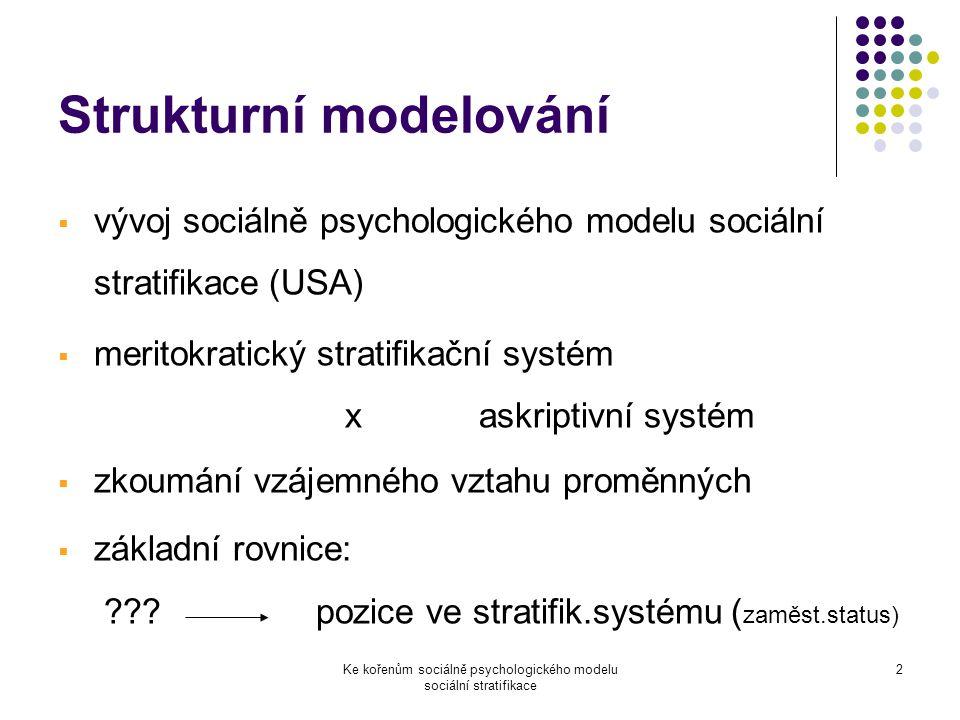 Ke kořenům sociálně psychologického modelu sociální stratifikace 2 Strukturní modelování  vývoj sociálně psychologického modelu sociální stratifikace (USA)  meritokratický stratifikační systém x askriptivní systém  zkoumání vzájemného vztahu proměnných  základní rovnice: ??.