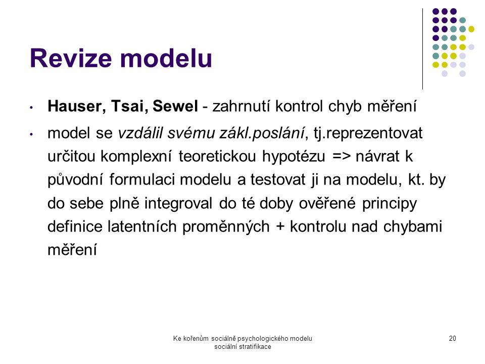 Ke kořenům sociálně psychologického modelu sociální stratifikace 20 Revize modelu Hauser, Tsai, Sewel - zahrnutí kontrol chyb měření model se vzdálil svému zákl.poslání, tj.reprezentovat určitou komplexní teoretickou hypotézu => návrat k původní formulaci modelu a testovat ji na modelu, kt.