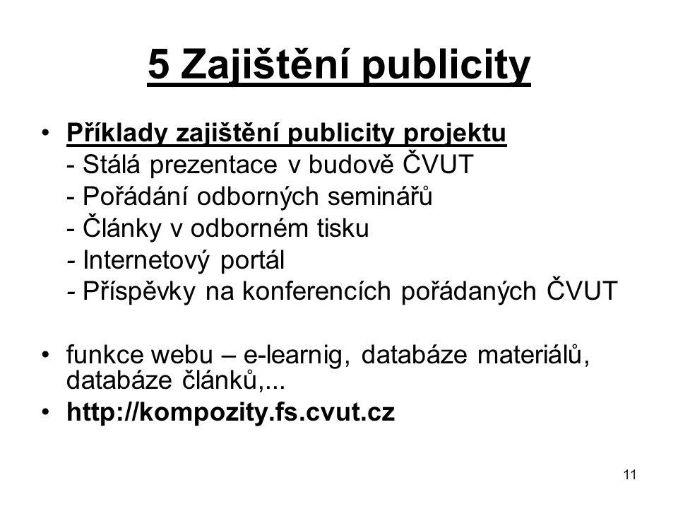 11 5 Zajištění publicity Příklady zajištění publicity projektu - Stálá prezentace v budově ČVUT - Pořádání odborných seminářů - Články v odborném tisk