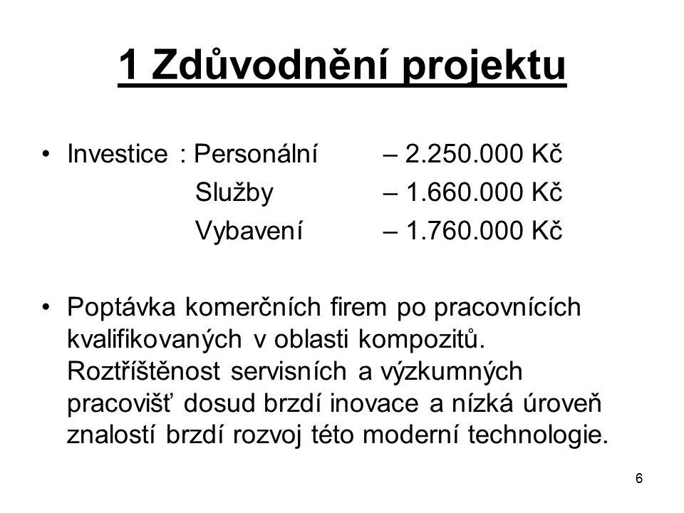 6 1 Zdůvodnění projektu Investice : Personální – 2.250.000 Kč Služby– 1.660.000 Kč Vybavení– 1.760.000 Kč Poptávka komerčních firem po pracovnících kv