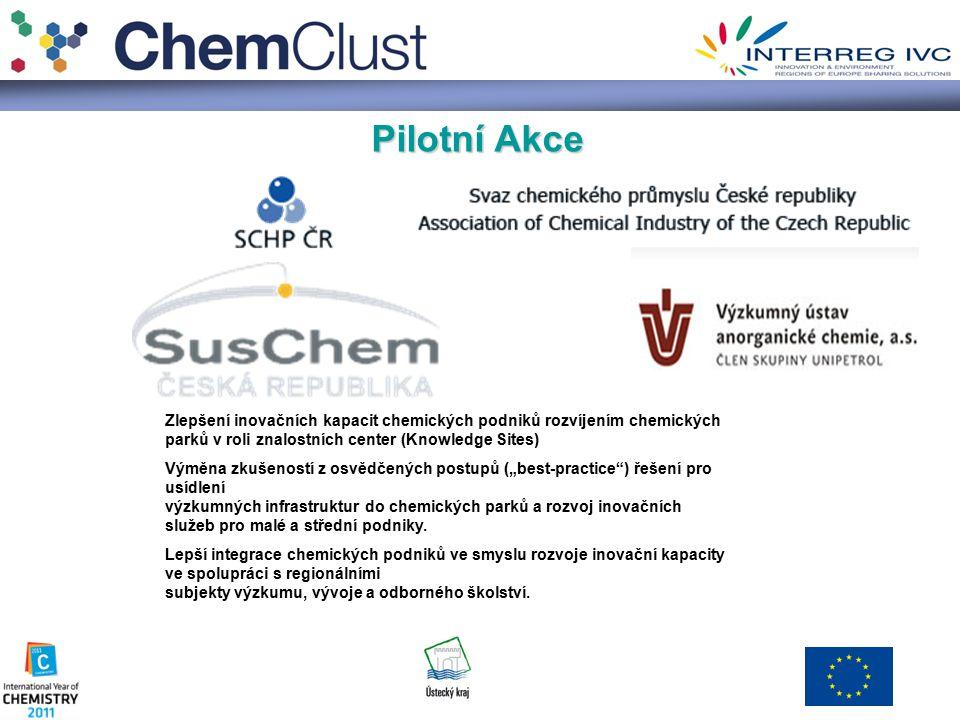 """Pilotní Akce Zlepšení inovačních kapacit chemických podniků rozvíjením chemických parků v roli znalostních center (Knowledge Sites) Výměna zkušeností z osvědčených postupů (""""best-practice ) řešení pro usídlení výzkumných infrastruktur do chemických parků a rozvoj inovačních služeb pro malé a střední podniky."""