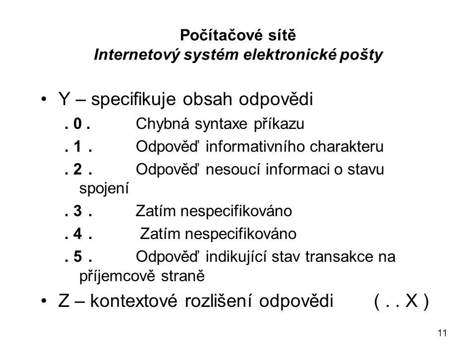 11 Počítačové sítě Internetový systém elektronické pošty Y – specifikuje obsah odpovědi.