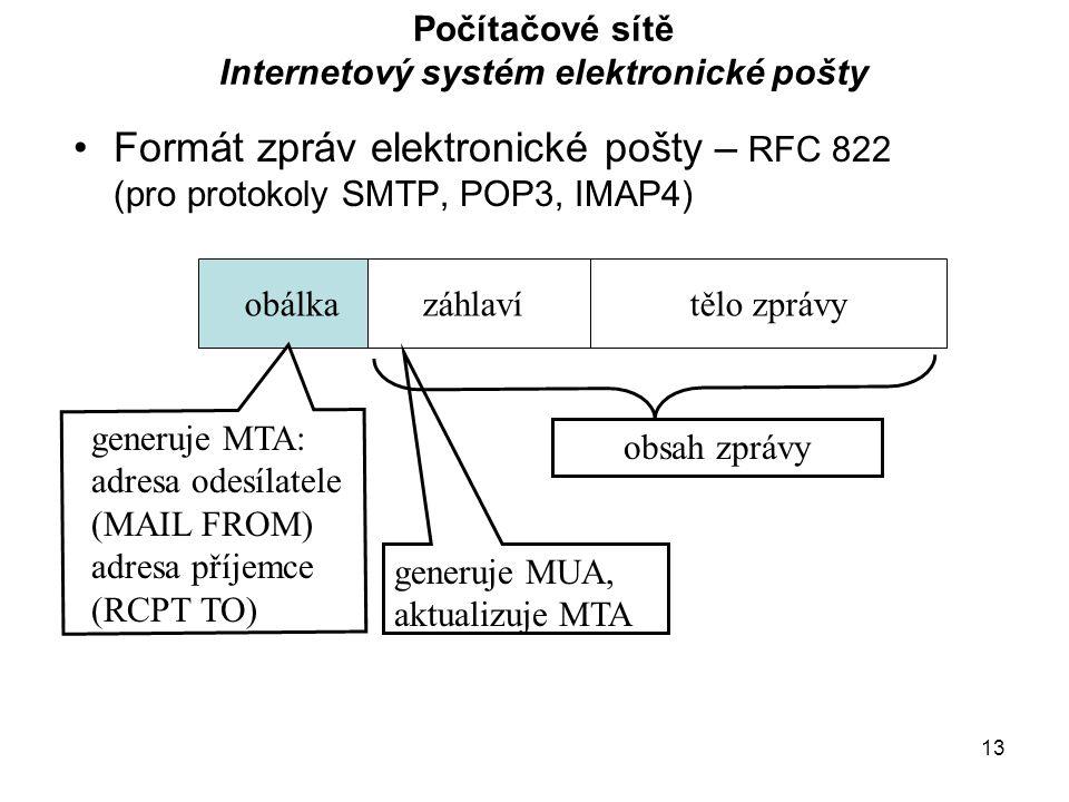 13 Počítačové sítě Internetový systém elektronické pošty Formát zpráv elektronické pošty – RFC 822 (pro protokoly SMTP, POP3, IMAP4) obálkazáhlavítělo zprávy generuje MUA, aktualizuje MTA generuje MTA: adresa odesílatele (MAIL FROM) adresa příjemce (RCPT TO) obsah zprávy