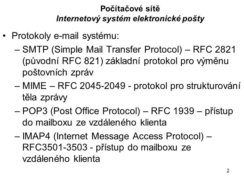 2 Počítačové sítě Internetový systém elektronické pošty Protokoly e-mail systému: –SMTP (Simple Mail Transfer Protocol) – RFC 2821 (původní RFC 821) základní protokol pro výměnu poštovních zpráv –MIME – RFC 2045-2049 - protokol pro strukturování těla zprávy –POP3 (Post Office Protocol) – RFC 1939 – přístup do mailboxu ze vzdáleného klienta –IMAP4 (Internet Message Access Protocol) – RFC3501-3503 - přístup do mailboxu ze vzdáleného klienta