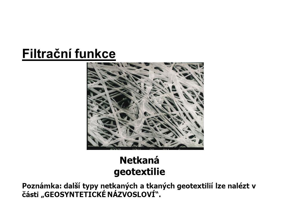 """Filtrační funkce Netkaná geotextilie Poznámka: další typy netkaných a tkaných geotextilií lze nalézt v části """"GEOSYNTETICKÉ NÁZVOSLOVÍ""""."""