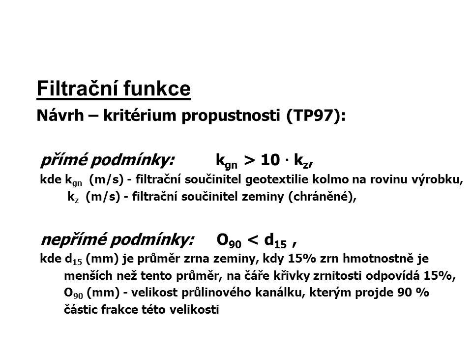 Filtrační funkce Návrh – kritérium propustnosti (TP97): přímé podmínky: k gn > 10 · k z, kde k gn (m/s) - filtrační součinitel geotextilie kolmo na ro