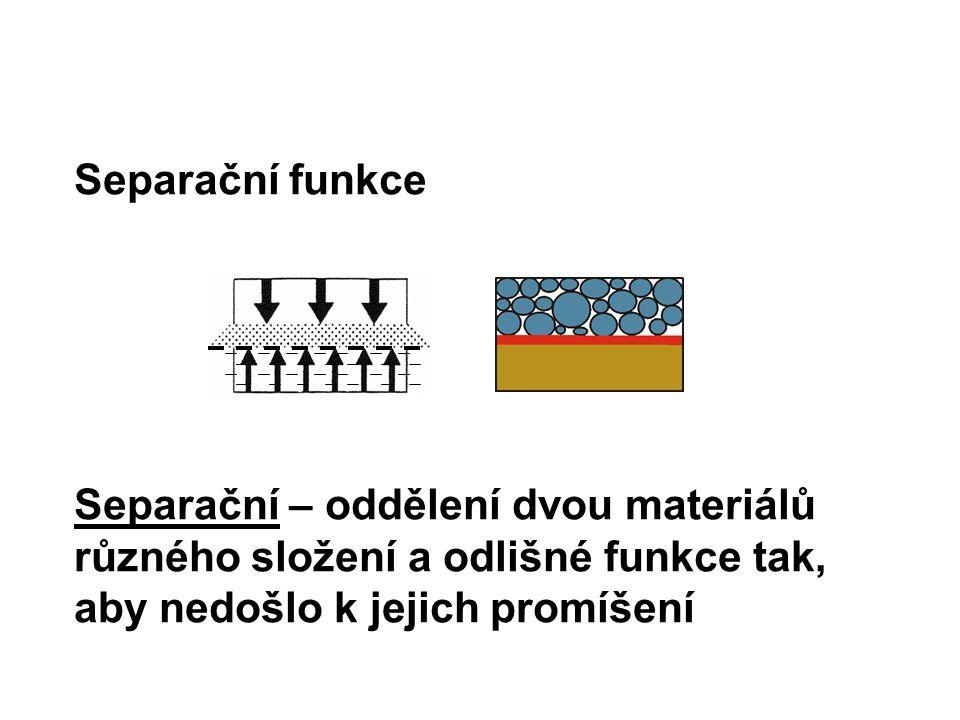 Separační funkce Separační – oddělení dvou materiálů různého složení a odlišné funkce tak, aby nedošlo k jejich promíšení
