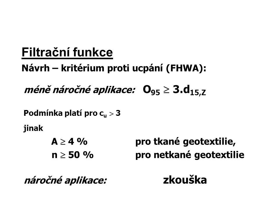Filtrační funkce Návrh – kritérium proti ucpání (FHWA): méně náročné aplikace: O 95  3.d 15,Z Podmínka platí pro c u  3 jinak A  4 %pro tkané geote