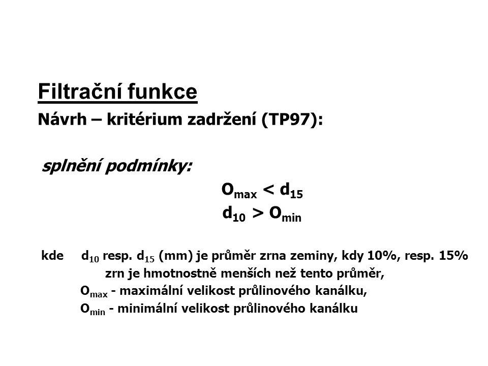 Filtrační funkce Návrh – kritérium zadržení (TP97): splnění podmínky: O max < d 15 d 10 > O min kde d 10 resp. d 15 (mm) je průměr zrna zeminy, kdy 10