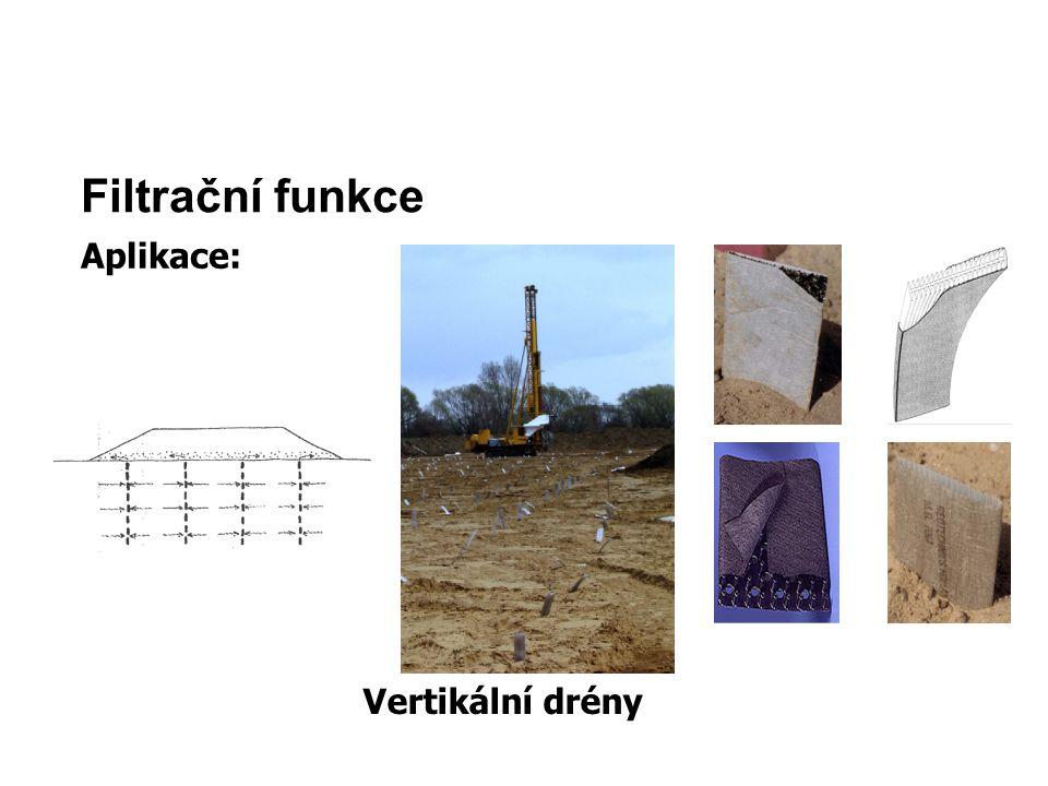 Filtrační funkce Aplikace: Vertikální drény