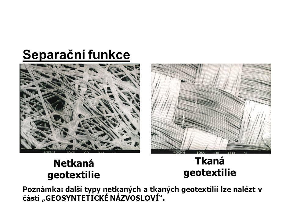 """Separační funkce Netkaná geotextilie Tkaná geotextilie Poznámka: další typy netkaných a tkaných geotextilií lze nalézt v části """"GEOSYNTETICKÉ NÁZVOSLO"""