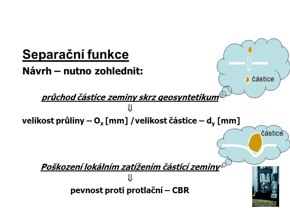 Separační funkce Návrh – nutno zohlednit: průchod částice zeminy skrz geosyntetikum  velikost průliny – O x [mm] /velikost částice – d y [mm] Poškoze