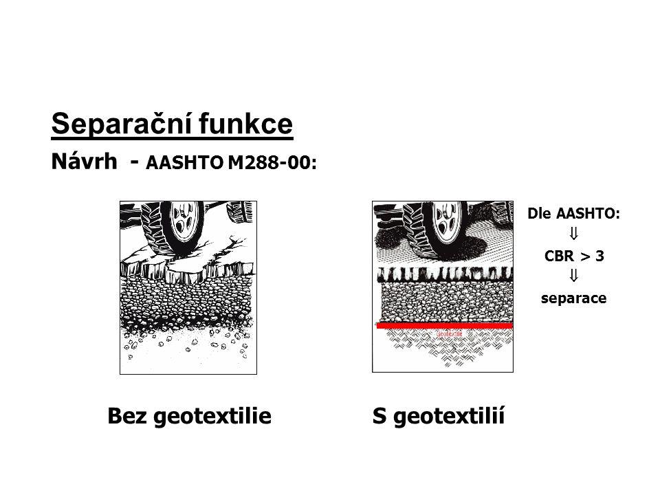 Separační funkce Bez geotextilieS geotextilií Dle AASHTO:  CBR > 3  separace Návrh - AASHTO M288-00: