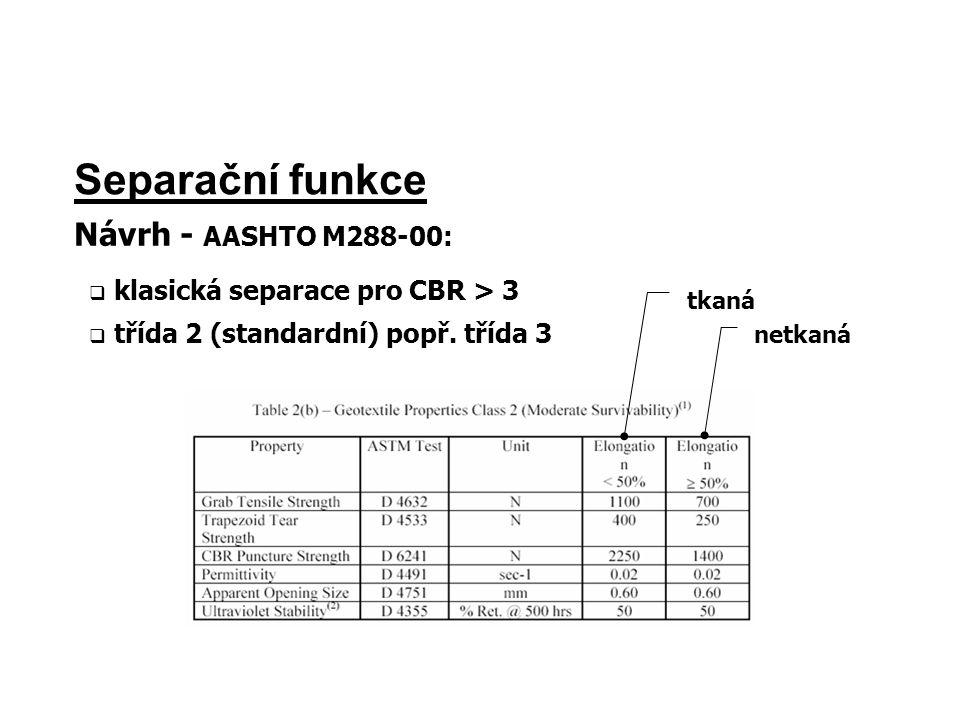 Separační funkce Návrh - AASHTO M288-00:  klasická separace pro CBR > 3  třída 2 (standardní) popř. třída 3 tkaná netkaná