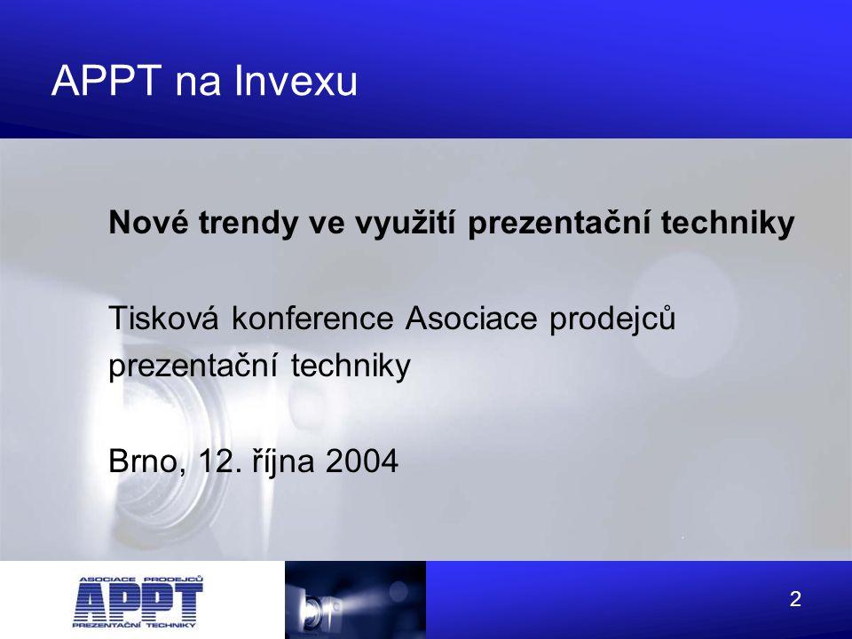 3 Proč APPT? - 1998 vznik APPT - 2004 členové: - rozvoj trhu prezentační techniky -