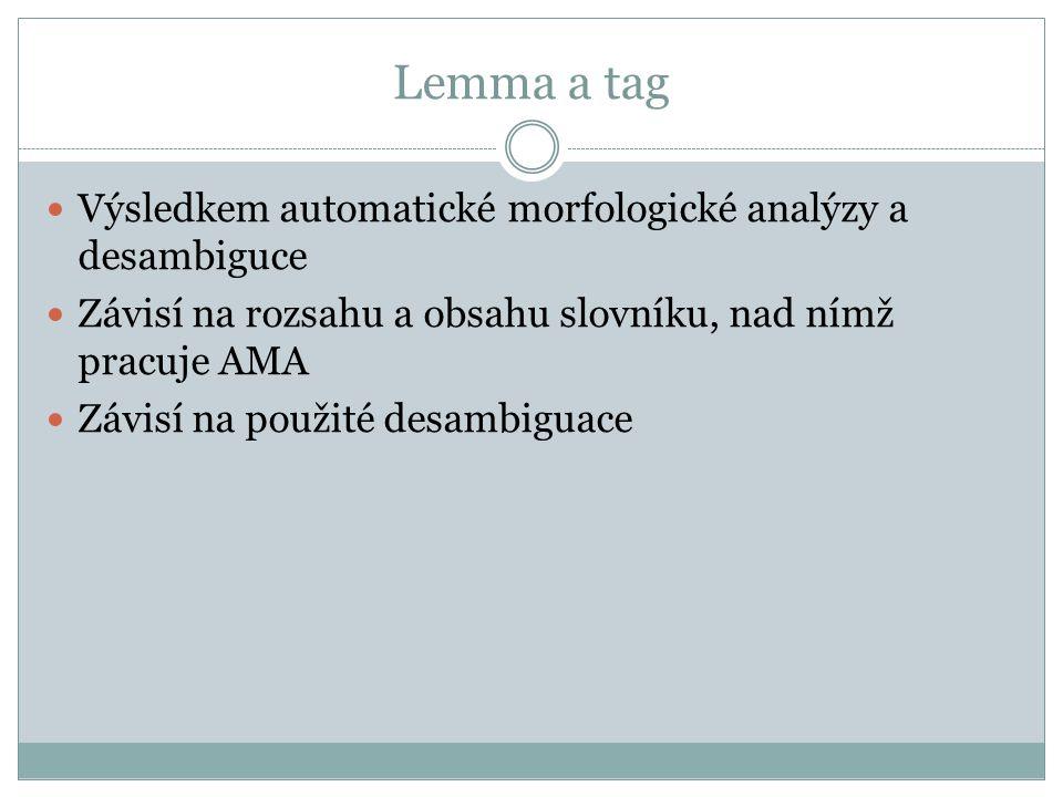 Lemma a tag Výsledkem automatické morfologické analýzy a desambiguce Závisí na rozsahu a obsahu slovníku, nad nímž pracuje AMA Závisí na použité desam