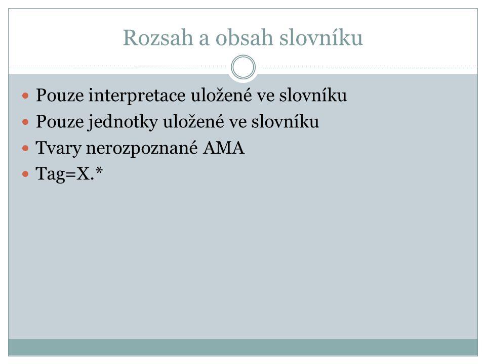 Rozsah a obsah slovníku Pouze interpretace uložené ve slovníku Pouze jednotky uložené ve slovníku Tvary nerozpoznané AMA Tag=X.*