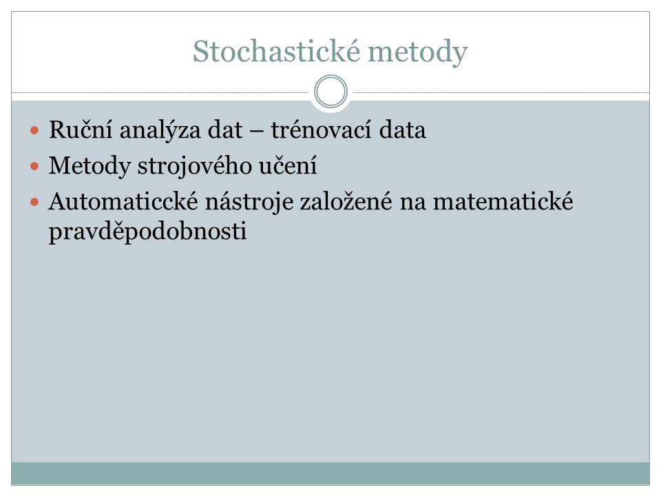 Stochastické metody Ruční analýza dat – trénovací data Metody strojového učení Automaticcké nástroje založené na matematické pravděpodobnosti