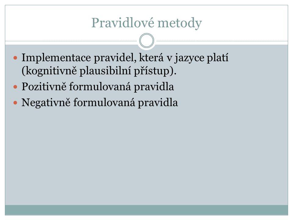 Pravidlové metody Implementace pravidel, která v jazyce platí (kognitivně plausibilní přístup). Pozitivně formulovaná pravidla Negativně formulovaná p