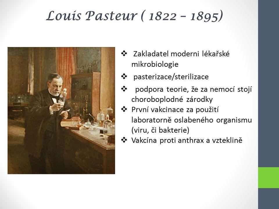 Louis Pasteur ( 1822 – 1895)  Zakladatel moderni lékařské mikrobiologie  pasterizace/sterilizace  podpora teorie, že za nemocí stojí choroboplodné