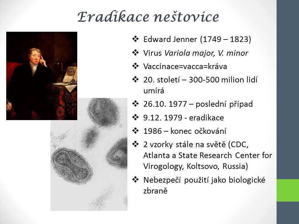 Eradikace neštovice  Edward Jenner (1749 – 1823)  Virus Variola major, V. minor  Vaccinace=vacca=kráva  20. století – 300-500 milion lidí umírá 