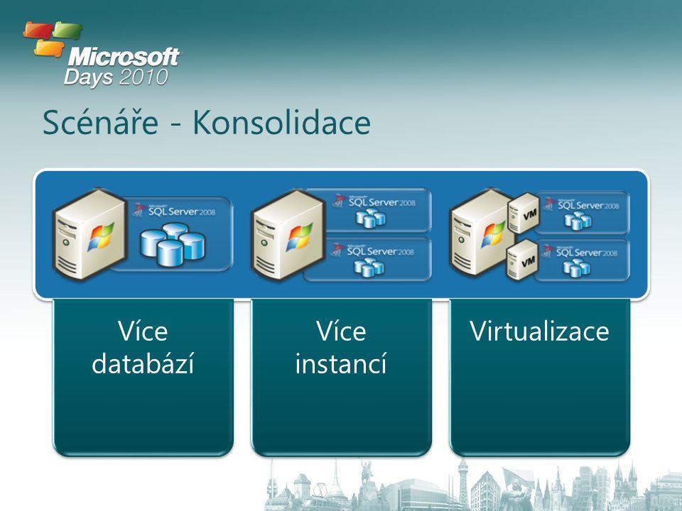Scénáře - Konsolidace Více databází Více instancí Virtualizace
