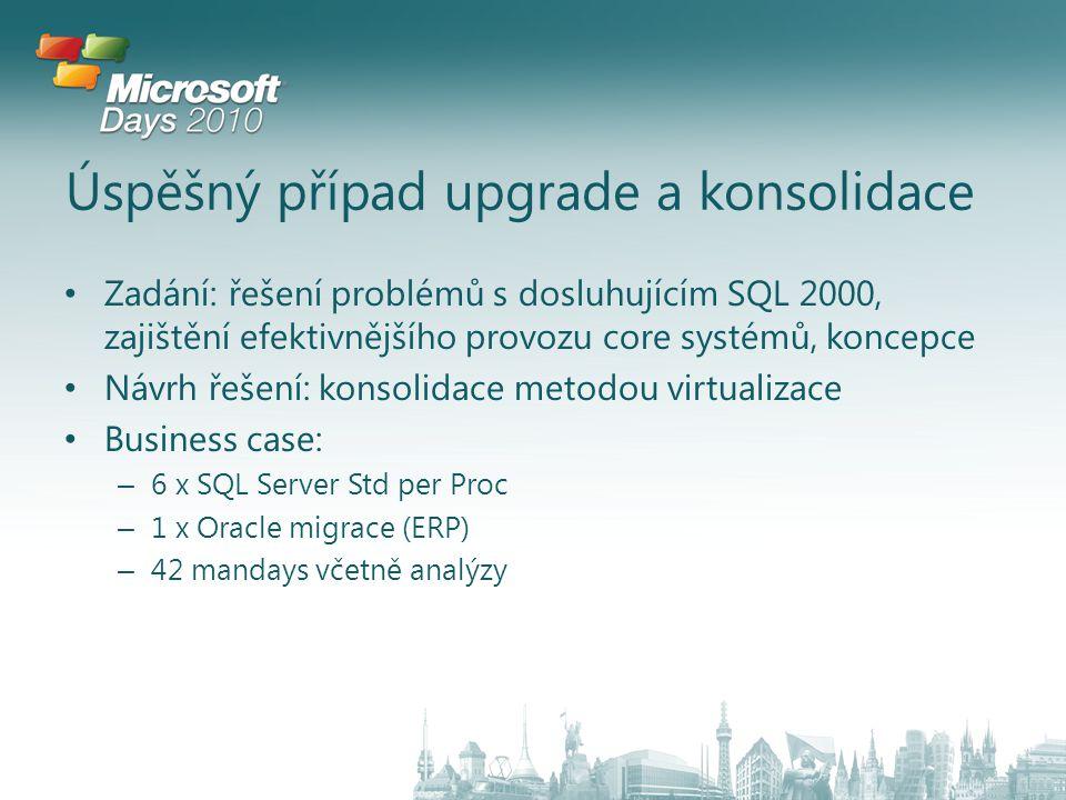 Úspěšný případ upgrade a konsolidace Zadání: řešení problémů s dosluhujícím SQL 2000, zajištění efektivnějšího provozu core systémů, koncepce Návrh řešení: konsolidace metodou virtualizace Business case: – 6 x SQL Server Std per Proc – 1 x Oracle migrace (ERP) – 42 mandays včetně analýzy