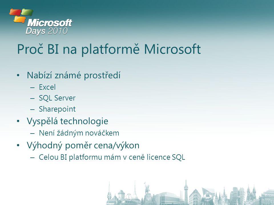 Proč BI na platformě Microsoft Nabízí známé prostředí – Excel – SQL Server – Sharepoint Vyspělá technologie – Není žádným nováčkem Výhodný poměr cena/výkon – Celou BI platformu mám v ceně licence SQL