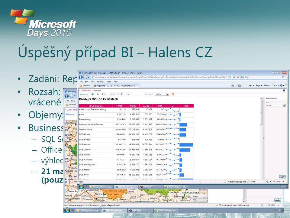 Úspěšný případ BI – Halens CZ Zadání: Reporting obchodních výsledků Rozsah: Produktový katalog, databáze zákazníků, faktury, vrácené a nepřevzaté zboží Objemy: 2 mil faktur ročně Business case: – SQL Server 2008 Std per Server + 40 CAL – Office 2010 – výhledově Sharepoint 2010 – 21 mandays (pouze implementace a vývoj)